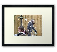 snow fight... Framed Print