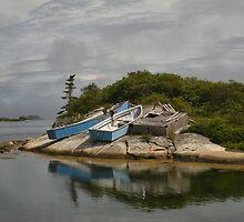 Boats Ashore Peggys Cove Nova Scotia by Shawna Mac