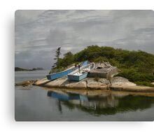 Boats Ashore Peggys Cove Nova Scotia Canvas Print