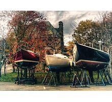 Wintering Boats in Baddeck Cape Breton Island Nova Scotia Canada Photographic Print