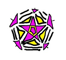 Crazy Pink and Yellow Star Photographic Print