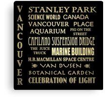 Vancouver Canada Famous Landmarks Canvas Print