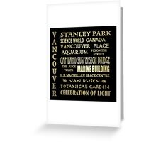 Vancouver Canada Famous Landmarks Greeting Card
