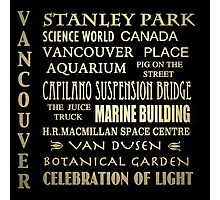 Vancouver Canada Famous Landmarks Photographic Print