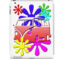 VW BUS with hippie flowers RED version iPad Case/Skin