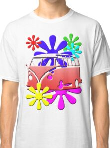 VW BUS with hippie flowers RED version Classic T-Shirt