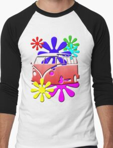 VW BUS with hippie flowers RED version Men's Baseball ¾ T-Shirt