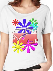VW BUS with hippie flowers RED version Women's Relaxed Fit T-Shirt