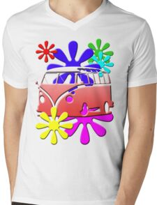 VW BUS with hippie flowers RED version Mens V-Neck T-Shirt