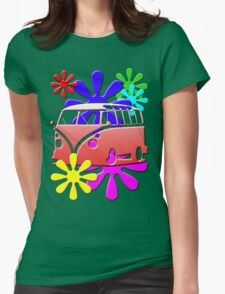 VW BUS with hippie flowers RED version Womens Fitted T-Shirt