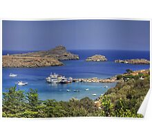 Boats in Lindos Bay Poster
