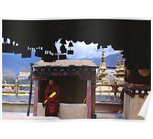 Tibetan Monk on Jokhang Rooftop Poster