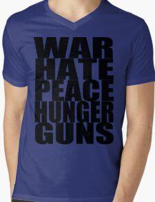WAR HATE PEACE HUNGER GUNS (Black) Mens V-Neck T-Shirt