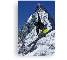 ski jumper and Matterhorn Canvas Print