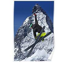 ski jumper and Matterhorn Poster
