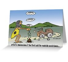 prehistoric roadside assistance Greeting Card