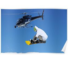 helicopter and snowboarder Poster
