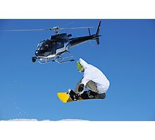 helicopter and snowboarder Photographic Print