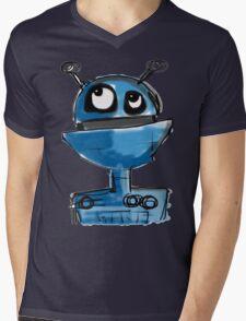 Blue Robot Mens V-Neck T-Shirt