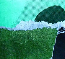 a strange new landform rises from a foaming green ocean by Evelyn Bach