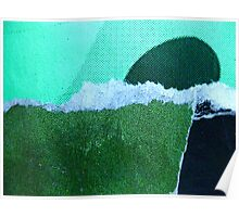 a strange new landform rises from a foaming green ocean Poster