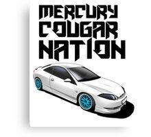 Mercury Cougar NATION (Blue rims, black text)  Canvas Print