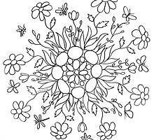 Flower Mandala (black line) by Lou Endicott
