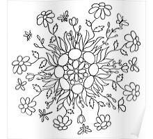 Flower Mandala (black line) Poster