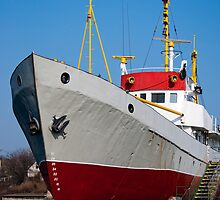 Ship with yellow masts by Dfilyagin