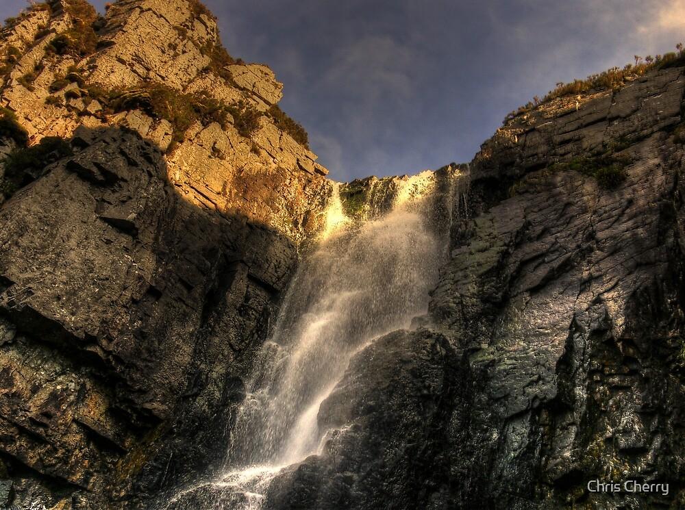 Waterfall Loch na Gainmhich by Chris Cherry
