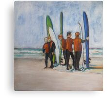 Surfers in Tofino, mixed media on canvas Canvas Print