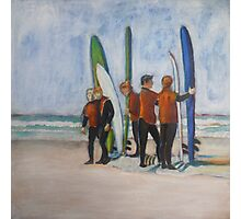 Surfers in Tofino, mixed media on canvas Photographic Print