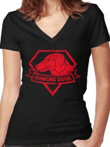 Diamond (Red) Women's Fitted V-Neck T-Shirt