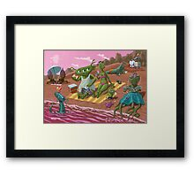 alien beach vacation Framed Print
