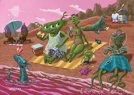 alien beach vacation by martyee