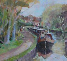 Longboats and distant lock. by Peter Lusby Taylor