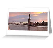 A winter view of Saint Murdeachs Cathedral beside the Moy Greeting Card