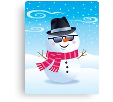 Cool Snowman Wearing Sunglasses and Fedora Canvas Print