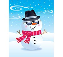Cool Snowman Wearing Sunglasses and Fedora Photographic Print