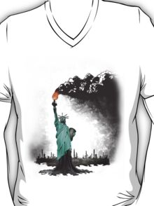 surreal rendered American liberty statue illustration: LIBERTY OIL T-Shirt