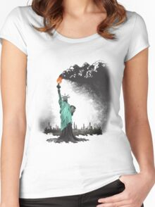 surreal rendered American liberty statue illustration: LIBERTY OIL Women's Fitted Scoop T-Shirt