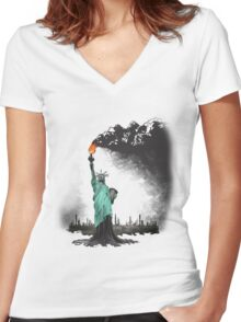surreal rendered American liberty statue illustration: LIBERTY OIL Women's Fitted V-Neck T-Shirt