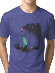 surreal rendered American liberty statue illustration: LIBERTY OIL Tri-blend T-Shirt
