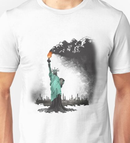 surreal rendered American liberty statue illustration: LIBERTY OIL Unisex T-Shirt
