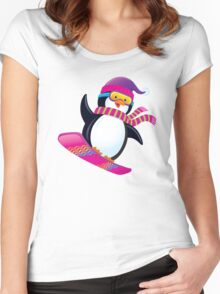 Cute Penguin Snowboarding Women's Fitted Scoop T-Shirt