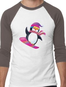 Cute Penguin Snowboarding Men's Baseball ¾ T-Shirt