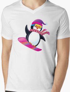 Cute Penguin Snowboarding Mens V-Neck T-Shirt