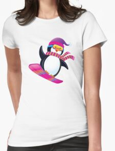 Cute Penguin Snowboarding Womens Fitted T-Shirt