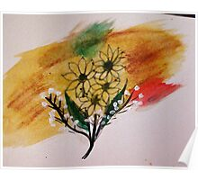 Bouquet of Sunflowers, watercolor Poster