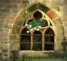 "Light in the Darkness. Gothic Window at "" Maulbronn Monastery "" Germany by Marie Luise  Strohmenger"